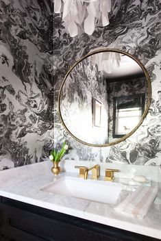 marble bathroom mirror erin williamson powder round wallpapers shapes decor wall crisis trend space opting playing challenge vanity spotting remodel