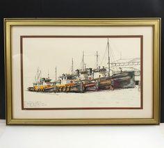 Nita Foraker Signed Numbered Print Family Portrait Fleet Washington Tug & Barge