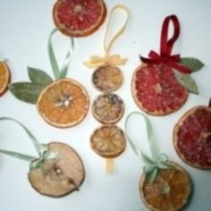 DRIED FRUIT ORNAMENTS: Cut fruit into slices.Arrange your slices onto a food dehydrator to dry. (You can also put them on a baking sheet in your oven on the lowest temperature setting until completely dried. This will also make your house smell lovely! Fruit Christmas Tree, Noel Christmas, Rustic Christmas, Winter Christmas, Christmas Oranges, Homemade Christmas Decorations, Fruit Decorations, Diy Christmas Ornaments, Holiday Crafts