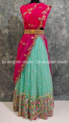 Half Saree Lehenga, Lehenga Saree Design, Lehenga Designs, Lehenga Suit, Lehenga Blouse, Silk Lehenga, Kurta Designs, Party Wear Indian Dresses, Indian Gowns Dresses