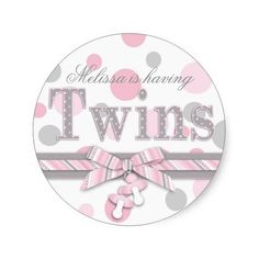 Twins Pink & Gray Polka Dots Baby Shower Round Stickers