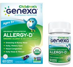 Genexa Allergy-D for Children, Organic Allergy & Decongestant Medicine, 60 Chewable Tablets
