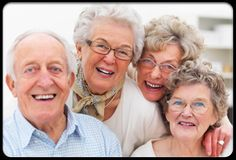 A group of happy seniors in a slide show showing how exercise helps them.