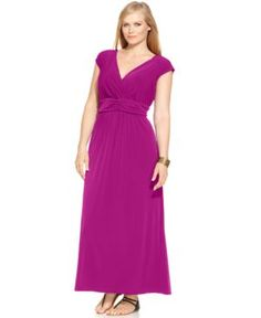 Ny Collection Plus Size Sleeveless Ruched Empire-Waist Maxi Dress | 50% OFF