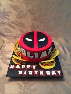Deadpool cake, deadpool taco cake, nerdy cakes but a grooms cake