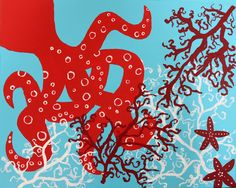 Lilly Pulitzer's Octopus & Coral Cascade Inspired Acrylic Painting  16x20, Signature on the Back  Selling for $75   paypal only please.