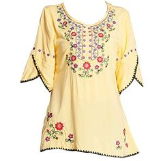 Ashir Aley Girls Embroidered Peasant Tops Mexican Bohemian Blouses (Yellow) | #Peasant #Top