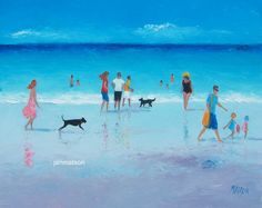 Beach Painting with people and dogs beach decor by JanMatsonArt,