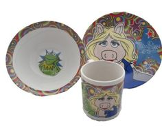 The Muppets Miss Piggy & Kermit Ceramic Breakfast Set - Bowl, Plate, Mug