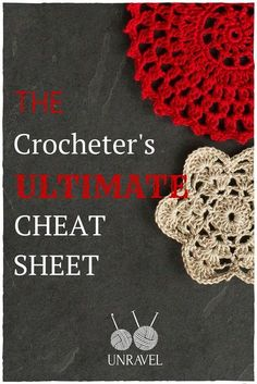 A crochet cheat sheet to help beginner crocheters remember how to do crochet stitches, deal with foundation chains, turning chains and crochet symbols.