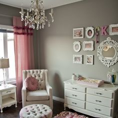 A Glamorous Gray and Pink Nursery: The accents in this room veer towards the glamorous, perfect for a growing girl. Source: Instagram User interiordesigninspiration