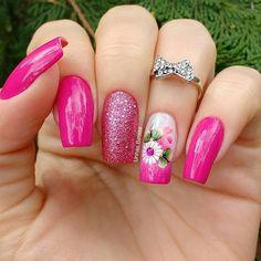 21 modelos de unhas com flores gostou dos modelos de unhas com. Acrylic Nail Designs, Nail Art Designs, Acrylic Nails, Design Art, Spring Nails, Summer Nails, Hair And Nails, My Nails, Pretty Nail Designs