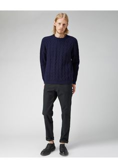 Chunky Geelong navy blue pullover by Peter Jensen