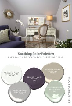 Darker colors don't always correspond with a lack of calm and peacefulness. When paired with the right tones, it creates a modern yet soothing color palette! Office Color Schemes, Office Paint Colors, Home Office Colors, Bathroom Color Schemes, Interior Color Schemes, Interior Design Advice, Paint Color Schemes, House Color Schemes, Bedroom Paint Colors