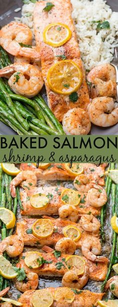 Easy recipe for Baked Salmon and Shrimp. This quick, under one-pan mea… Easy recipe for Baked Salmon and Shrimp. This quick, under one-pan meal, is so easy to make and will become a favorite in your home. Salmon and shrimp in juices of lemon and butter. Baked Salmon And Asparagus, Salmon And Shrimp, Asparagus Recipe, Healthy Salmon Recipes, Seafood Recipes, Healthy Dinner Recipes, Healthy Dinners, Fish Recipes, Delicious Recipes