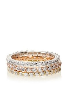 Belargo Mixed Stackable Eternity Band Set of 3 Rings