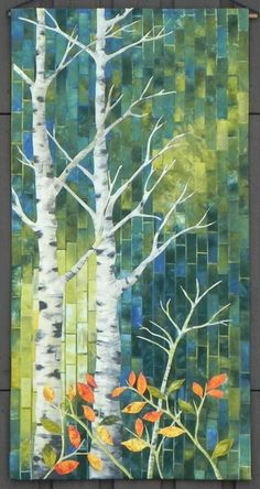 Alberta Trees by Wendy Greber. Techniques from Gloria Loughman. Excellence f… Alberta Trees by Wendy Greber. Techniques from Gloria Loughman. Excellence for Work by a First Time Exhibitor. National Juried Show 2015 ~ Canadian Quilters' Association. Mosaic Crafts, Mosaic Art, Landscape Art Quilts, Tree Quilt, Quilt Art, Art Textile, Leaf Art, Tree Art, Fabric Art
