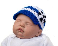 HONDURAS SOCCER HAT or Football Crochet Baby Boy, Royal Blue White Soccer, World Soccer Baby Cap, National Team Soccer, Knit Baby Soccer Hat by Grandmabilt on Etsy