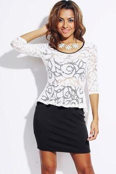 Black White Eyelet Bsckless Long Sleeve Peplum Mini Dress Small Med Large   eBay