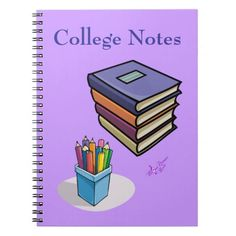 College Notes Books & Pencils Notebook by MoonDreams Music #notebook #college #notes #dorm #student #school #backtoschool #moondreamsmusic #books #pencils
