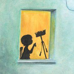 Co widzisz, zabawy, dziecko, ilustracja, książka, okno