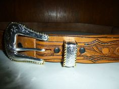 Mens Hand Tooled Leather Belt Deer Bear Acorns Leaves 59 Inches Long