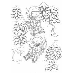 Schlitten fahren genießen  #snow #winter #cold #sledging #illustration