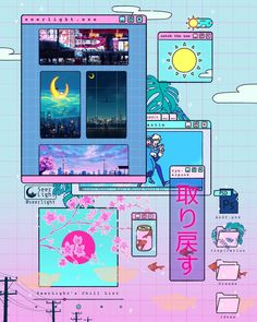 Digital Doodles by Seerlight. Ronald Kuang is an illustrator doing digital doodles and Continue Reading and for more doodles → View Website Aesthetic Japan, Retro Aesthetic, Aesthetic Anime, Aesthetic Pastel Wallpaper, Aesthetic Backgrounds, Aesthetic Wallpapers, Japon Illustration, Website Illustration, Vaporwave Wallpaper