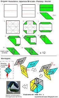 O QUE É MEU É NOSSO: Origami Kusudama - Brocado Japonês (Japanese Brocade), Nishiki, Fantasy - Minako Ishibashi