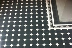 Tessellated floor tiles from Renditions Tiles Main Floor - Oxley pattern Black octagon/white dots Border - Richmond 100 border Infill - 100x100 Black