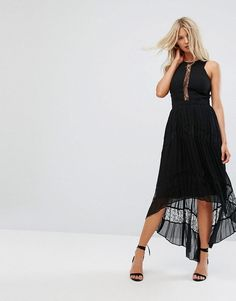 ADELYN RAE IRINA PLEEATED LACE INSERT MAXI DRESS - BLACK. #adelynrae #cloth #