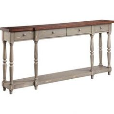 Four-drawer narrow console table. Wood-tone finish top with lower storage shelf. Six turned legs. Brand: Satin World Product Description Stein World Simpson Console - Gray Rustic Console Tables, Entryway Console Table, Narrow Console Table, Foyer, Sofa Tables, Affordable Home Decor, Cheap Home Decor, French Grey, French Country