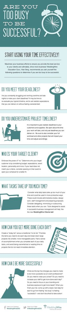 "Are You Too Busy to Be Successful? | WeddingWire EDU Blog featuring Wedding Marketing Guru, Alan Berg #Infographic  ""Don't mistake movement for achievement. It's easy to get faked out by being busy. The question is: Busy doing what?"" ~ Jim Rohn #quote"