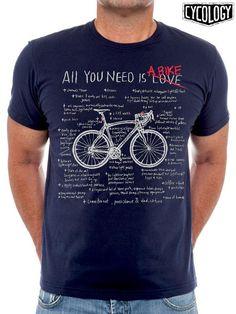 Cycology t-shirt: All You Need Is A Bike (navy) - CyclingLifestyle. Shirt Print Design, Shirt Designs, Printed Shirts, Tee Shirts, Cycling T Shirts, Bike Style, Cycling Outfit, Shirt Shop, All You Need Is