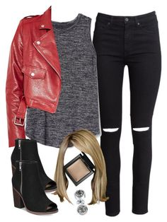 """Edgy Hanna Marin inspired outfit with red leather jacket"" by liarsstyle ❤ liked on Polyvore featuring H&M, Gap, Missguided, Bare Escentuals, Call it SPRING, Bling Jewelry, NightOut, weekend, college and WF"