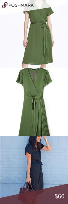 Banana Republic Pleated wrap dress - NWT, green The classic wrap, perfect in ever setting!         V-neck. Short sleeves. On-seam pockets. Self-tie belt. Pleated skirt. Hits at the knee. 100% polyester. Machine wash. Imported. Banana Republic Dresses