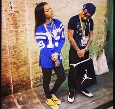 Teyana Taylor Dope Swag His Her Air Jordan Sneakers Trainers Footwear SnapBack Chains Gold Oversized Sweater Jumper Black Love Celebrity Couple