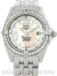 Breitling Windrider Wings Ladies MOP Diamond Watch A67350