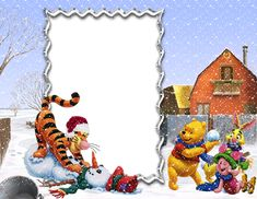 Winnie the Pooh and Friends Winter Holiday PNG Kids Frame