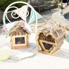 Set Of Two Wooden Insect Houses