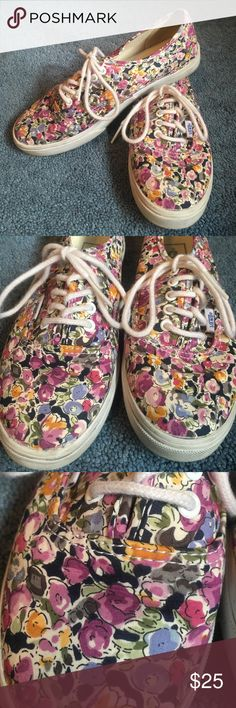Size 6 floral vans Floral print, white laces, lightly worn vans! US size 6 Vans Shoes Sneakers