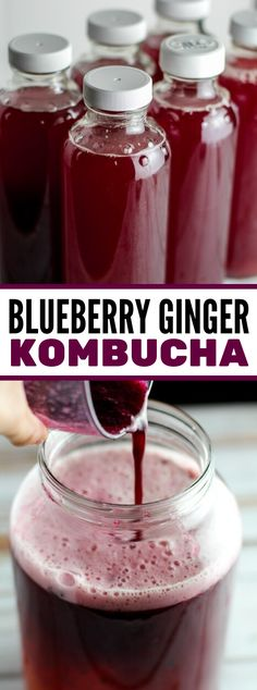 Have you made your own kombucha before? This Blueberry Ginger Kombucha looks and sounds amazing! Kombucha Drink, Kombucha Flavors, Flavored Kombucha Recipe, Kombucha Cocktail, Sangria Cocktail, How To Brew Kombucha, Cocktails, Blueberry Kombucha, Blueberry Drinks