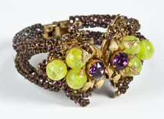 Miriam Haskell Hinged Bangle with Grapes : Lot 230A