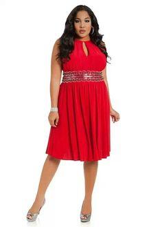 Ashley Stewart Red Plus Size Dress Keyhole Neckline #UNIQUE_WOMENS_FASHION
