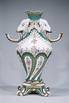 Vase (vase à tête d'éléphant). Sèvres Manufactory,(French, 1740- present) Designer Jean-Claude Duplessis (ca.1695-1774) Made of Soft-past porcelain, ca.1756-1762