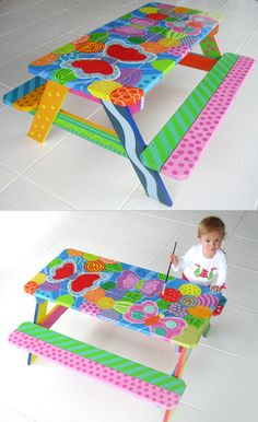 Hand Painted Children's Picnic Table