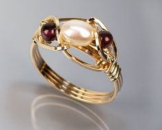 White rice pearl ring,Gold, Rose gold,Argentium silver,Pearl(June birthstone),Pearl jewelry, Art, Garnet(Birthstone of January),Wire wrapped by SunChanJewelry on Etsy