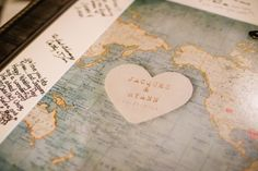 Guestbook alternative- a map for people to sign | An Eclectic Travel Inspired Wedding