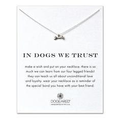 in dogs we trust dog bone necklace, sterling silver