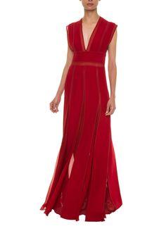 Vestido Longo Plissado Red Reinaldo Lourenço